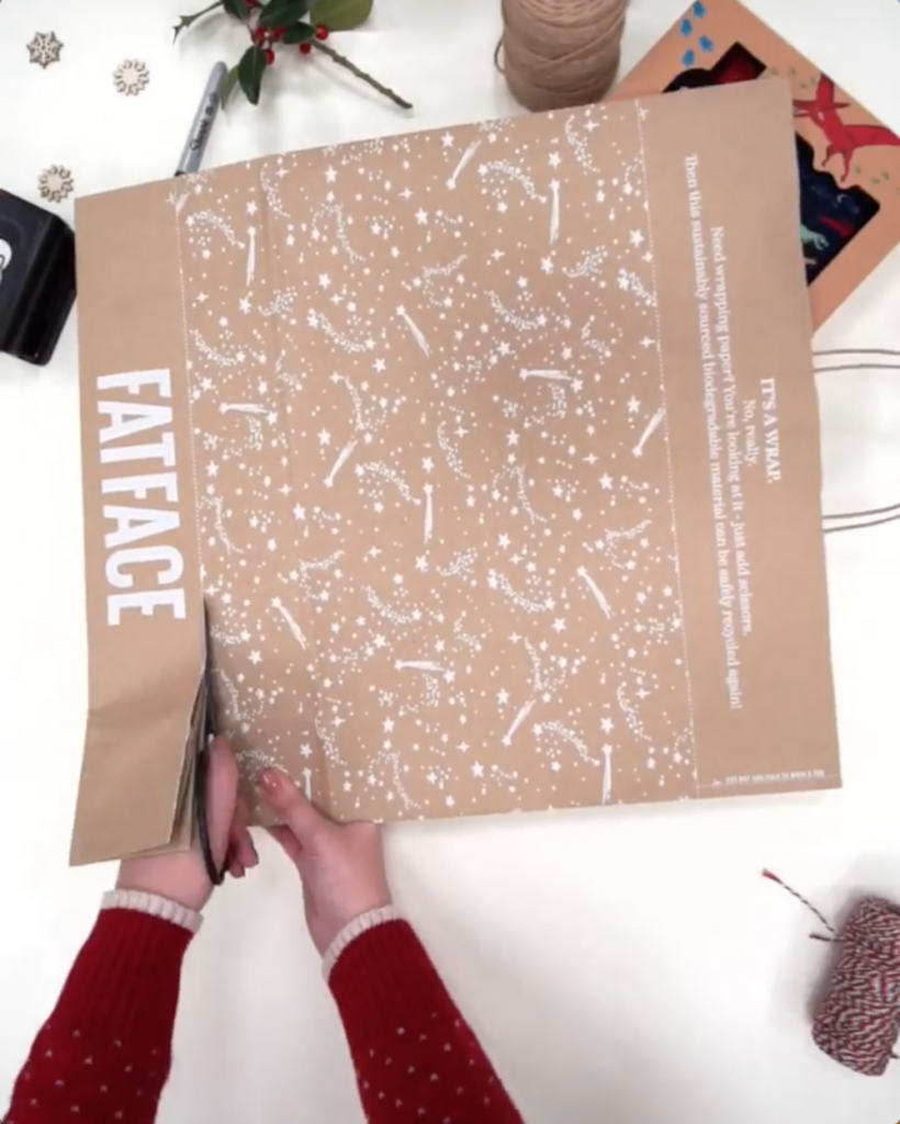 Fat Face bags as wrapping paper, sustainable product packaging